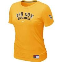 Women's Boston Red Sox Nike Short Sleeve Practice Baseball T-Shirts Yellow