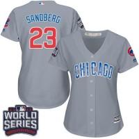 Women's Chicago Cubs #23 Ryne Sandberg Grey Road 2016 World Series Bound Stitched Baseball Jersey