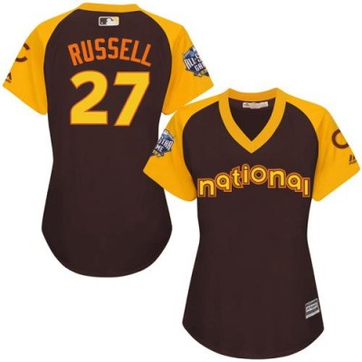 Women's Chicago Cubs #27 Addison Russell Brown 2016 All-Star National League Stitched Baseball Jersey