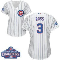 Women's Chicago Cubs #3 David Ross White(Blue Strip) Home 2016 World Series Champions Stitched Baseball Jersey