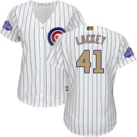 Women's Chicago Cubs #41 John Lackey White(Blue Strip) 2017 Gold Program Cool Base Stitched MLB Jersey