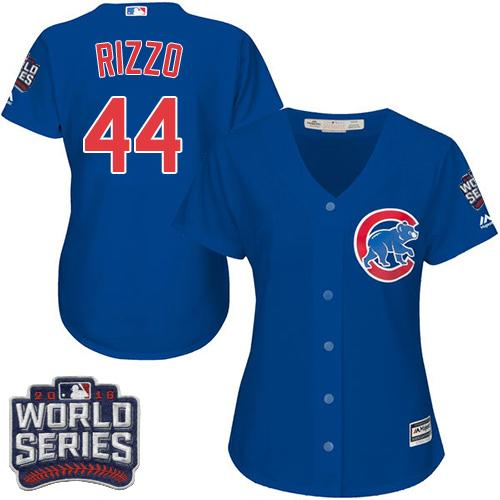 cd7c1e294 Women s Chicago Cubs  44 Anthony Rizzo Blue Alternate 2016 World Series  Bound Stitched Baseball Jersey