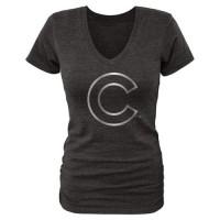 Women's Chicago Cubs Fanatics Apparel Platinum Collection V-Neck Tri-Blend T-Shirt Black