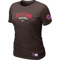 Women's Chicago Cubs Nike Short Sleeve Practice Baseball T-Shirts Brown