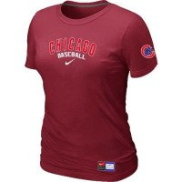 Women's Chicago Cubs Nike Short Sleeve Practice Baseball T-Shirts Red