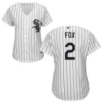 Women's Chicago White Sox #2 Nellie Fox White(Black Strip) Home Stitched MLB Jersey