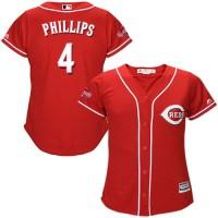 Women's Cincinnati Reds #4 Brandon Phillips Red Alternate Stitched MLB Jersey