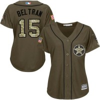 Women's Houston Astros #15 Carlos Beltran Green Salute to Service Stitched MLB Jersey
