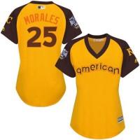 Women's Kansas City Royals #25 Kendrys Morales Gold 2016 All-Star American League Stitched Baseball Jersey