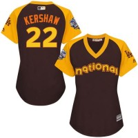 Women's Los Angeles Dodgers #22 Clayton Kershaw Brown 2016 All-Star National League Stitched Baseball Jersey