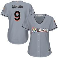 Women's Miami Marlins #9 Dee Gordon Grey Road Stitched MLB Jersey