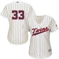 Women's Minnesota Twins #33 Justin Morneau Cream Strip Alternate Stitched MLB Jersey