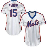 Women's New York Mets #15 Tim Tebow White(Blue Strip) Alternate Stitched MLB Jersey