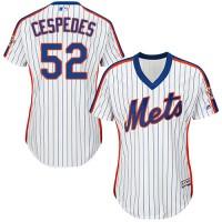 Women's New York Mets #52 Yoenis Cespedes White(Blue Strip) Alternate Stitched MLB Jersey