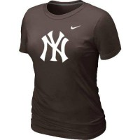 Women's New York Yankees Heathered Nike Brown Blended T-Shirt