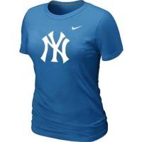 Women's New York Yankees Heathered Nike Light Blue Blended T-Shirt