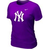 Women's New York Yankees Heathered Nike Purple Blended T-Shirt