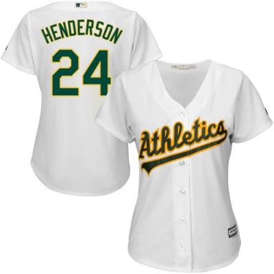c3c842bac Women s Oakland Athletics  24 Rickey Henderson White Home Stitched MLB  Jersey