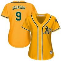 Women's Oakland Athletics #9 Reggie Jackson Gold Alternate Stitched MLB Jersey