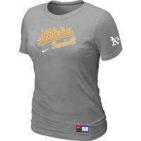Women's Oakland Athletics Nike Short Sleeve Practice Baseball T-Shirts Light Grey