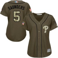 Women's Philadelphia Phillies #5 Michael Saunders Green Salute to Service Stitched MLB Jersey