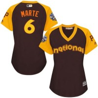 Women's Pittsburgh Pirates #6 Starling Marte Brown 2016 All-Star National League Stitched Baseball Jersey