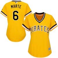 Women's Pittsburgh Pirates #6 Starling Marte Gold Alternate Stitched MLB Jersey