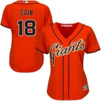 Women's San Francisco Giants #18 Matt Cain Orange Alternate Stitched MLB Jersey