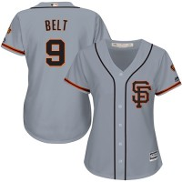 Women's San Francisco Giants #9 Brandon Belt Grey Road 2 Stitched MLB Jersey