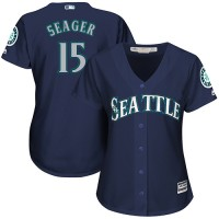 Women's Seattle Mariners #15 Kyle Seager Navy Blue Alternate Stitched MLB Jersey