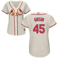 Women's St.Louis Cardinals #45 Bob Gibson Cream Alternate Stitched MLB Jersey