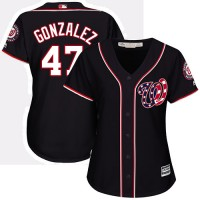 Women's Washington Nationals #47 Gio Gonzalez Navy Blue Alternate Stitched MLB Jersey