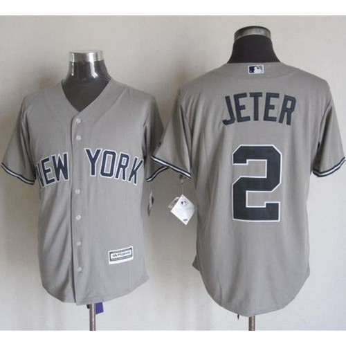 low priced 98656 6ad1c Yankees #2 Derek Jeter Grey New Cool Base Stitched Baseball ...
