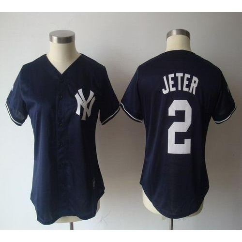 Yankees  2 Derek Jeter Navy Blue Women s Fashion Stitched Baseball Jersey 0332ad9d902