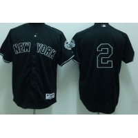 Yankees #2 Derek Jeter Stitched Black Youth Baseball Jersey