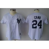 Yankees #24 Robinson Cano White With Black Strip Women's Fashion Stitched Baseball Jersey
