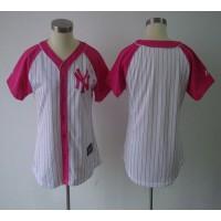 Yankees Blank WhitePink Women's Splash Fashion Stitched Baseball Jersey