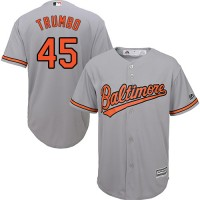 Youth Baltimore Orioles #45 Mark Trumbo Grey Cool Base Stitched MLB Jersey