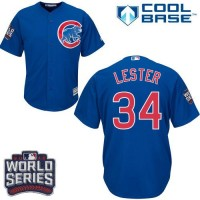 Youth Chicago Cubs #34 Jon Lester Blue Alternate 2016 World Series Bound Stitched Baseball Jersey