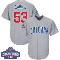 Youth Chicago Cubs #53 Trevor Cahill Grey Road 2016 World Series Champions Stitched Baseball Jersey