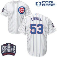 Youth Chicago Cubs #53 Trevor Cahill White Home 2016 World Series Bound Stitched Baseball Jersey