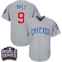 Youth Chicago Cubs #9 Javier Baez Grey Road 2016 World Series Bound Stitched Baseball Jersey