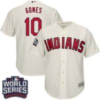 Youth Cleveland Indians #10 Yan Gomes Cream Alternate 2016 World Series Bound Stitched Baseball Jersey