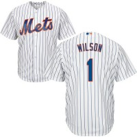 Youth New York Mets #1 Mookie Wilson White(Blue Strip) Cool Base Stitched MLB Jersey