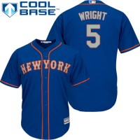 Youth New York Mets #5 David Wright Blue(Grey NO.) Cool Base Stitched MLB Jersey