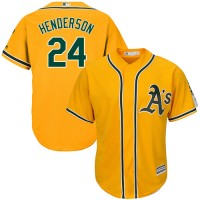 Youth Oakland Athletics #24 Rickey Henderson Gold Cool Base Stitched MLB Jersey