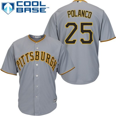 38cf95de4 ... netherlands youth pittsburgh pirates 25 gregory polanco grey cool base  stitched mlb jersey c859b 585c7