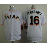 marlins #16 Jose Fernandez White Cool Base Stitched Baseball Jersey