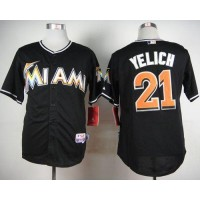 marlins #21 Christian Yelich Black Cool Base Stitched Baseball Jersey