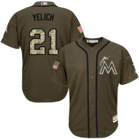 marlins #21 Christian Yelich Green Salute to Service Stitched Baseball Jersey